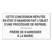 Adhésif Plaque Cimetière : concession état d'abandon