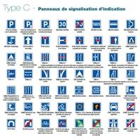Panneaux de signalisation d'indication type C et CE en 500mm