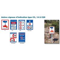 Panneaux de signalisation d'indication type C3, 14 & C25