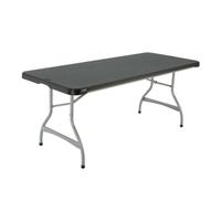 Table noire pliante rectangle polyéthylène - Longueur 183 cm