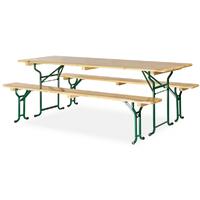 Table avec banc en bois 220x70 cm - piètement tubulaire