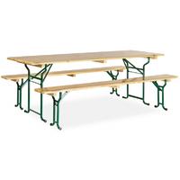 Table avec banc en bois 220x80 cm - piètement tubulaire