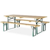 Table avec banc en bois 220x70 cm - piètement cornière