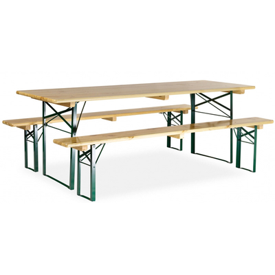 Table avec banc en bois 220x80 cm pi tement corni re for Table en bois avec banc