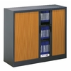 Armoire basse rideaux bois meuble bureau