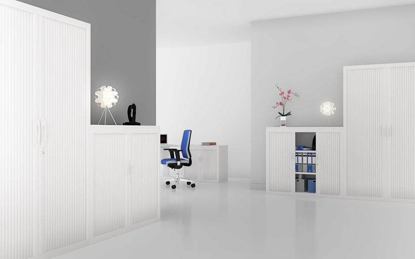 Armoire basse rideaux coulissants mat riel pour for Ensemble meuble bureau