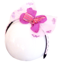 Serre tête enfant de tulle rose et fleur rebrodés