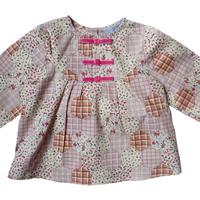 Blouse Anais patchwork rose imprimée manches longues