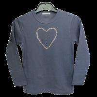T Shirt Coeur gris rose manches longues