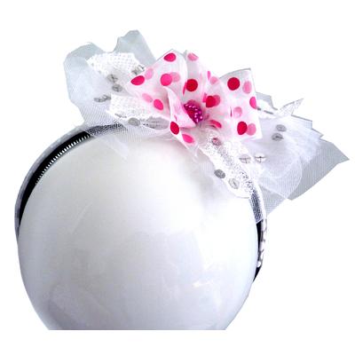Serre tête enfant de tulle blanc et ruban rose