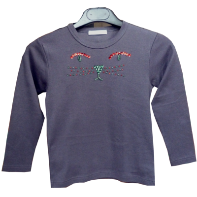 T Shirt Chaton Gris rouge manches longues