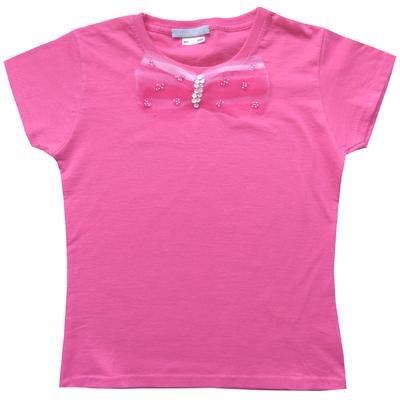T Shirt Princesse manches courtes garni d'un noeud de tulle et paillettes