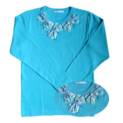 T Shirt Aude Bleu Lagon manches longues