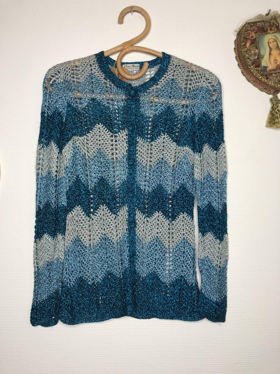 gilet crochet lurex vintage
