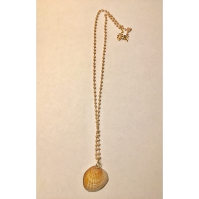 Collier coquillage shell orangé