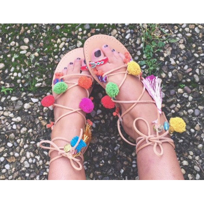 Sandales Boho à pompons