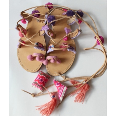 Sandales boho rose