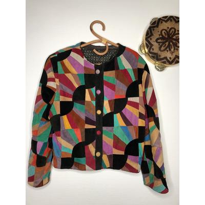 Veste en patchwork de daim vintage