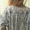 veste en jean bleached vintage portée dos