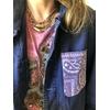 veste bleu de travail bandana mauve