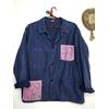 veste bleu de travail bandana rose