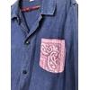 veste bleu de travail bandana rose détail bis
