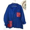 veste bleu de travail bandana rouge