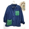 veste bleu de travail bandana vert