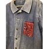 veste bleu de travail bandana bordeaux détail bis