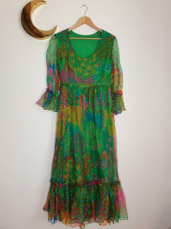 robe longue en soie vintage