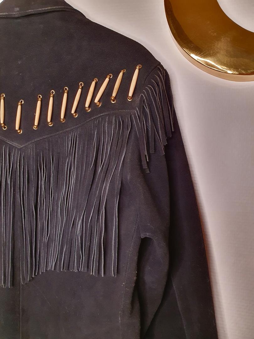 blouson en daim noir vintage