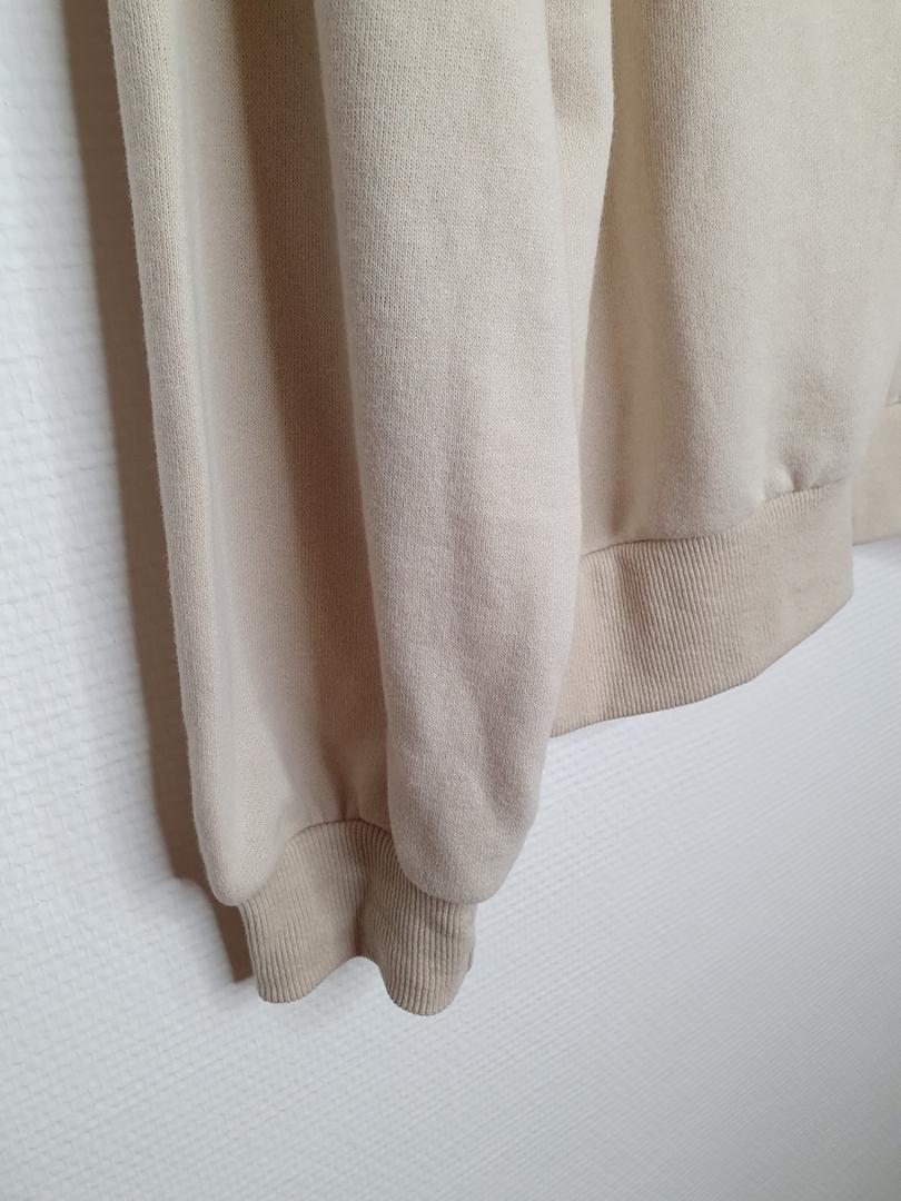 hoodie crème détail bord côte
