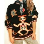 pull aztèque vintage porté