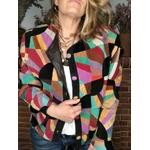 veste en patchwork de daim vintage porté