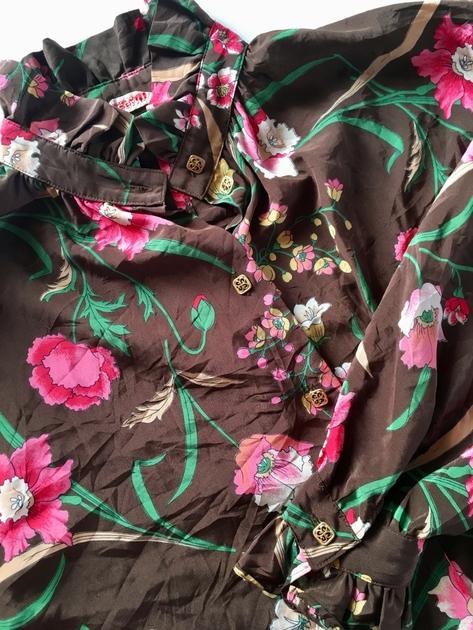 chemisier vintage fleurs détails