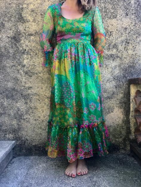 robe longue en soie vintage portée bis