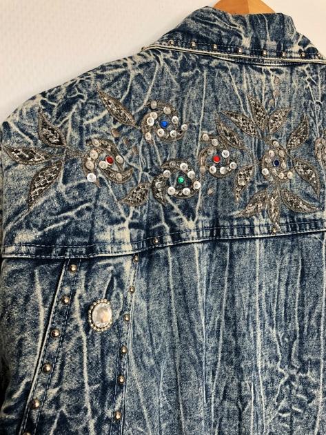 veste en jean bleached vintage détail dos