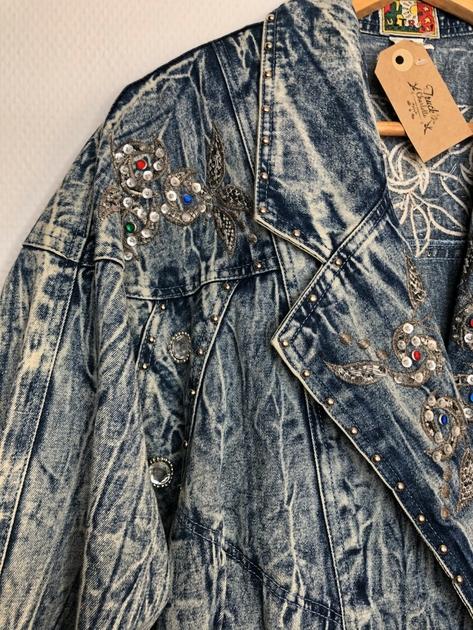 veste en jean bleached vintage détail 2