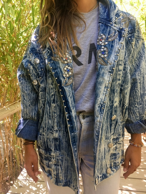veste en jean bleached vintage portée bis