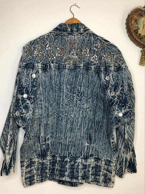 veste en jean bleached vintage dos