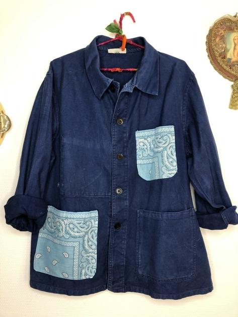 veste bleu de travail bandana bleu ciel