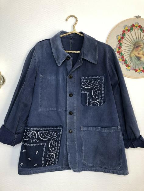 veste bleu de travail bandana bleu marine