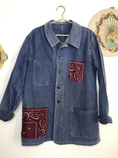 veste bleu de travail bandana bordeaux