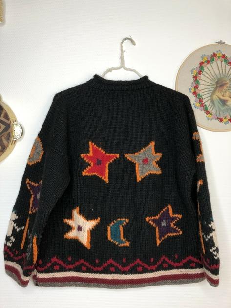 pull aztèque vintage dos