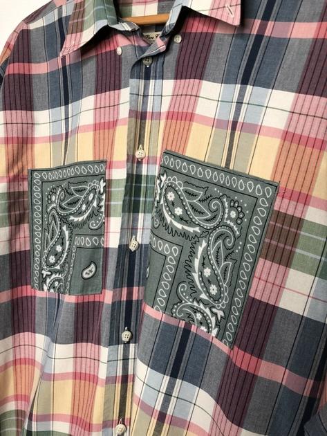 chemise vintage écossaise poches bandanas kaki détail