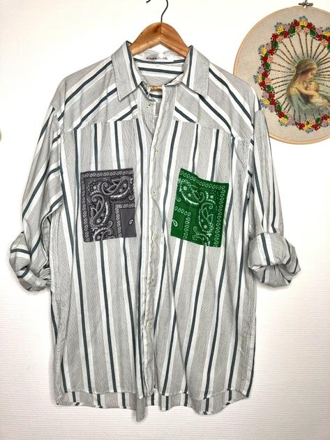 chemise vintage poches bandanas grise et verte face