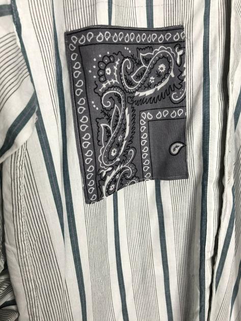 chemise vintage poches bandanas grise et verte détail
