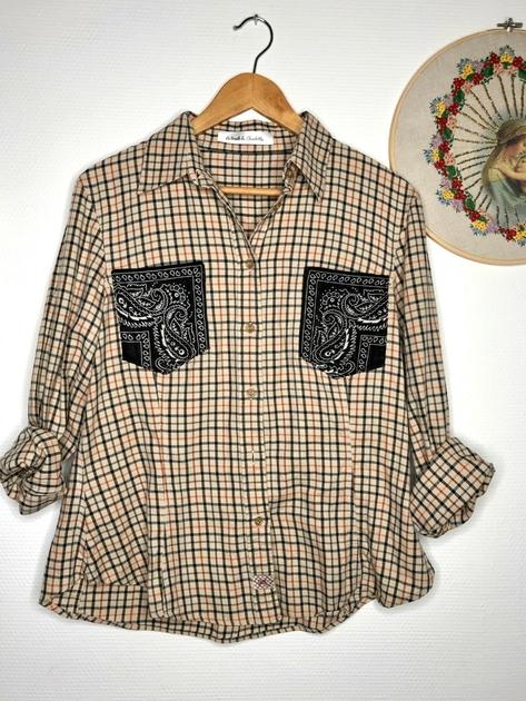 chemise vintage poches bandanas noires
