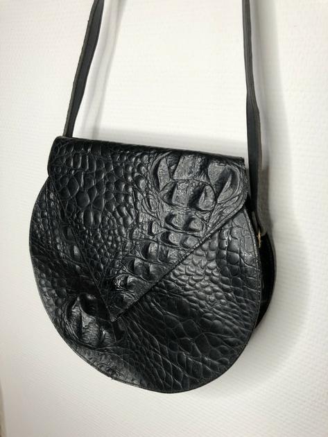 sac cuir noir vintage détail