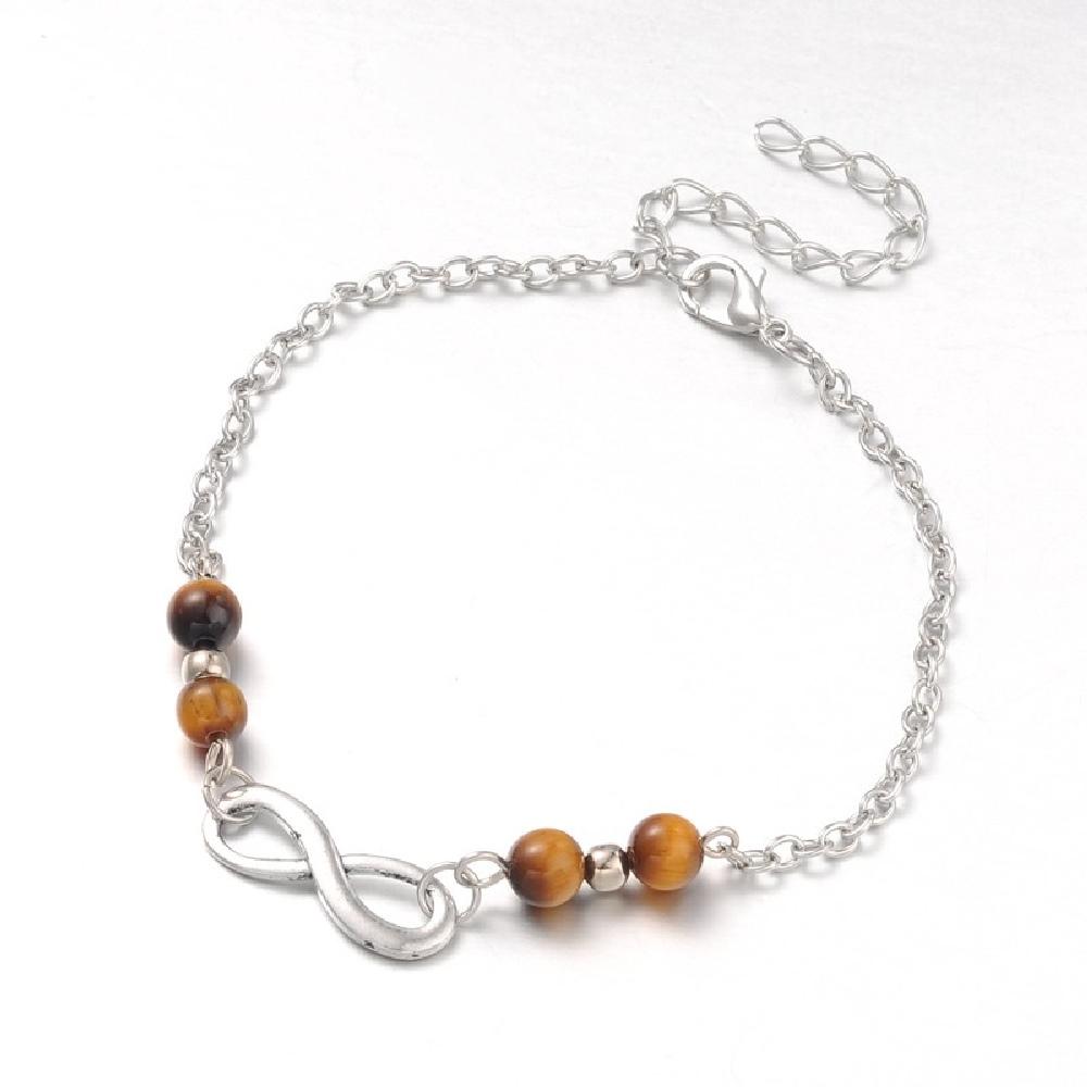 bracelet de cheville en oeil de tigre r glable bijoux fantaisie. Black Bedroom Furniture Sets. Home Design Ideas